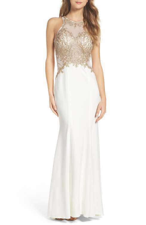 XSCAPE EMBELLISHED JERSEY MERMAID ivory gold GOWN DRESS sz 8