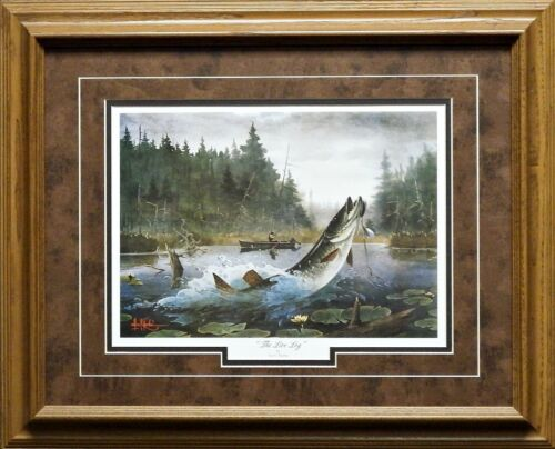 "Les Kouba The Live Log Fishing Print Framed 21/"" x 17/"""