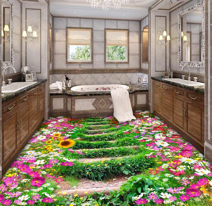 3D Pretty Flower Road 62 Floor WallPaper Murals Wall Print Decal AJ WALLPAPER CA