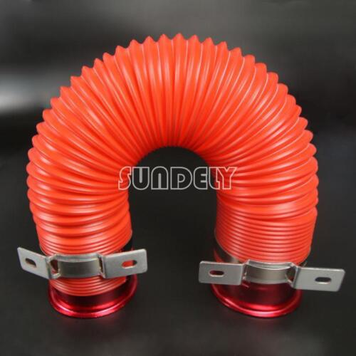"""PURE RED 3/"""" ADJUSTABLE FLEXIBLE SHORT RAM//COLD AIR INTAKE DUCT TURBO TUBE HOSE"""