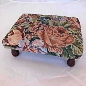 Repose-pieds Vintage Bois Repose Pieds Confort Imprimé Fleurs Ancien Canapé Pied