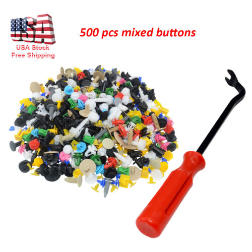 500pcs Push Pin Mixed Door Trim Panel Clip Fastener Bumper Rivet Retainer /& tool