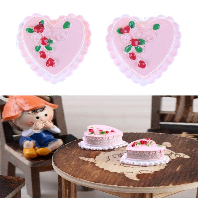 Miniature Dollhouse Doll Heart Cake Garden Craft Fairy Bonsai Decor Toy Nice CA