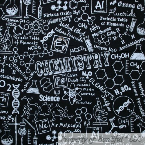 BonEful FABRIC FQ Cotton Quilt Black White B/&W Science School Teacher Nurse Kid