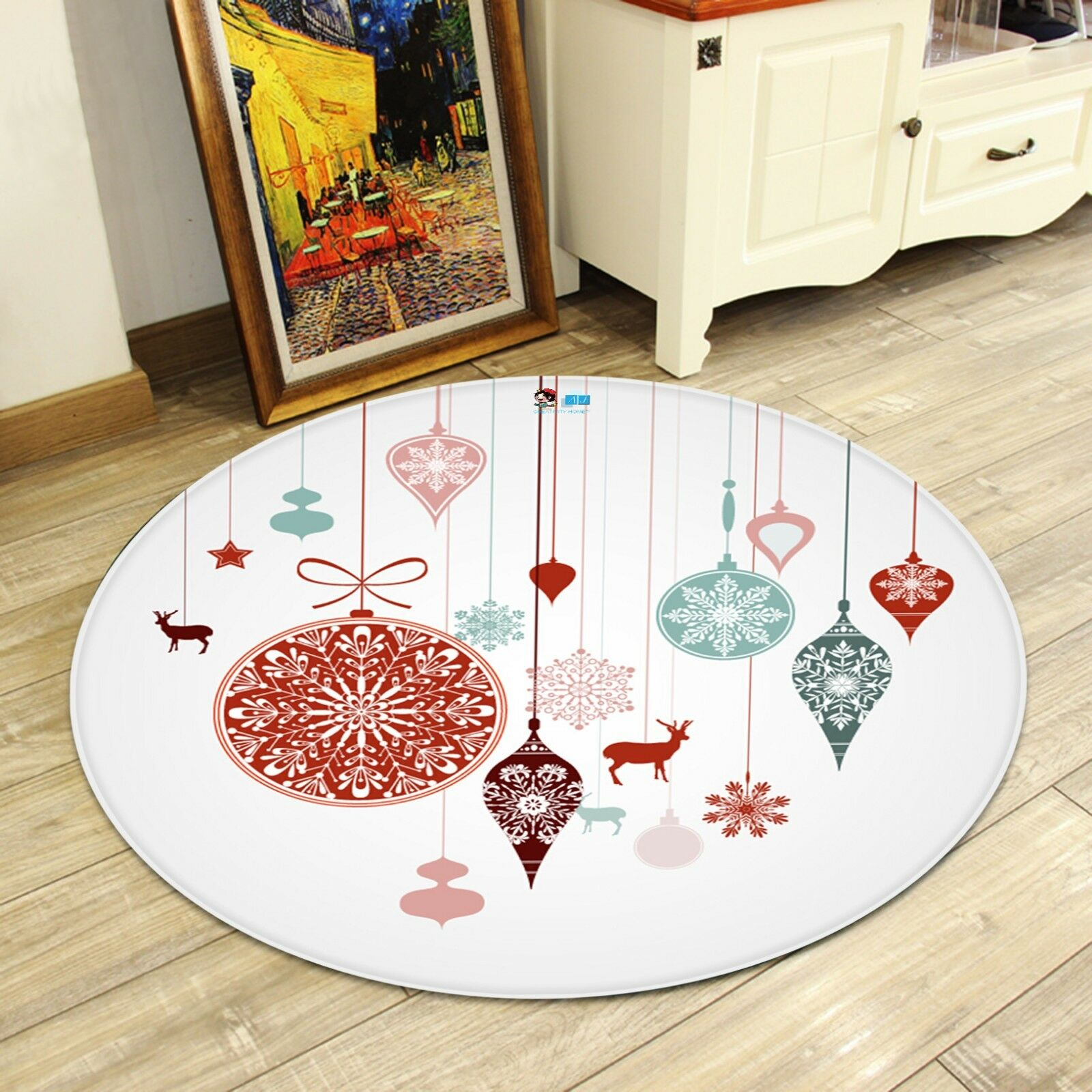 Elemento de Navidad Navidad 3D 213 Alfombra colchoneta de Sala Mat Antideslizante rojoondo elegante Alfombra