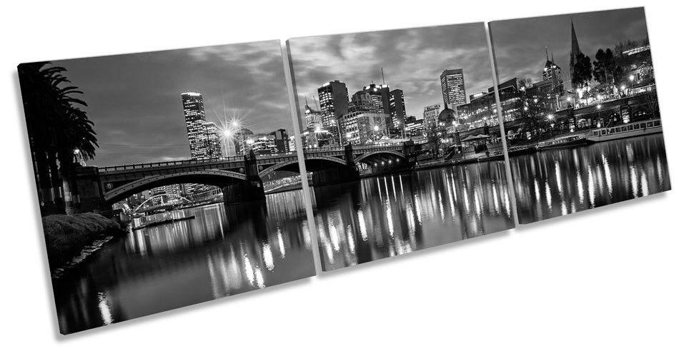Melbourne AUSTRALIA SKYLINE B N ART. a Muro Immagine Stampa Triplo