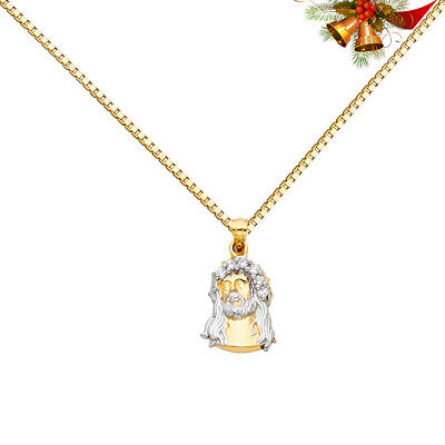 14k Two Tone Diamond Cut Jesus Crucifix Stamp Charm Pendant with 1.1mm Wheat Chain Necklace