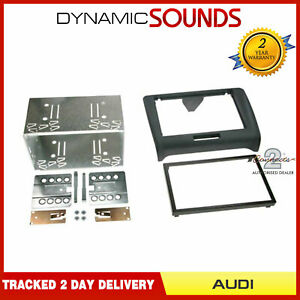 Black-Double-DIN-Car-Stereo-Fascia-Fitting-Kit-For-AUDI-TT-2006-2014-8J-Model