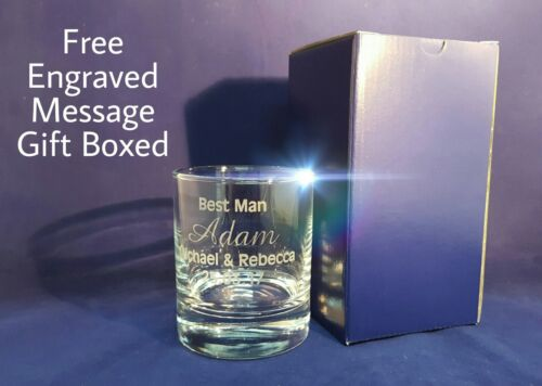 PERSONALISED ENGRAVED WHISKEY GLASS ANY MESSAGE Heavy Weight Quality Glass Gift