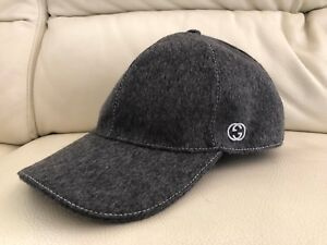 NEW GUCCI LIGHT GREY WOOL BASEBALL CAP HAT ALL SIZES S M L XL  9885c696ed89