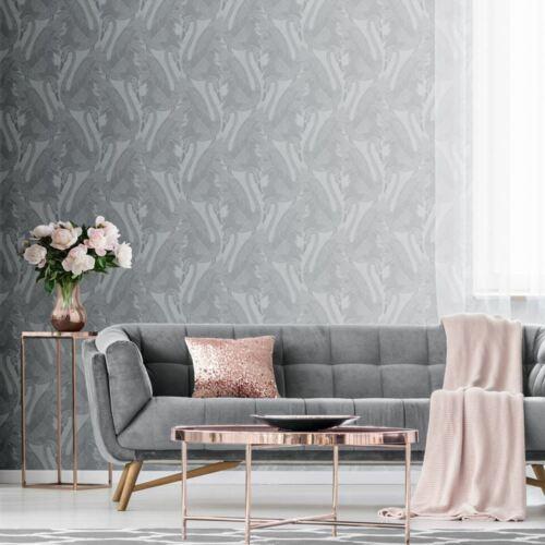 3 Rolls Silver Swan Wallpaper Blown Vinyl Embossed Metallic Sheen Glitter