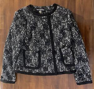 Karl-Lagerfeld-Paris-Women-s-Jacket-Black-White-Button-Up-Size-8