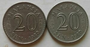 Parliament Series 20 sen coin 1980 2 pcs