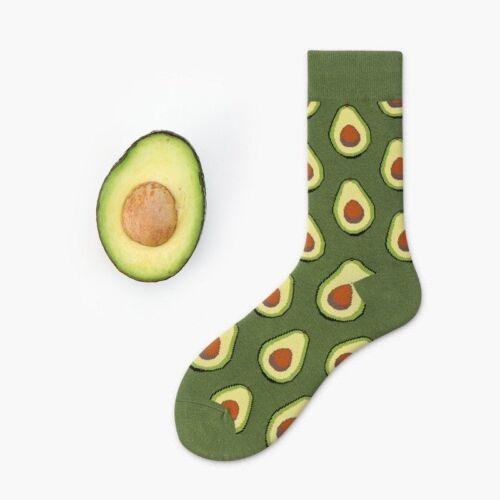 Women Cute Fruit Socks Avocado Apple Cherry Hamburger Egg Cotton Socks SOX De