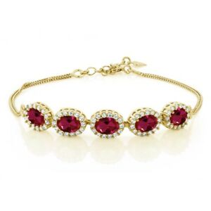 5-74-Ct-Oval-Red-Created-Ruby-18K-Yellow-Gold-Plated-Silver-Bracelet