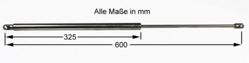 La presión del gas amortiguadores de acero inoxidable 600mm amortiguador 600n nuevo 7337