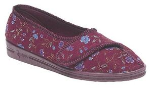 LADIES-SIZE-4-5-6-7-8-9-COMFYLUX-WINE-FLORAL-WASHABLE-SLIPPER-RUBBER-SOLES