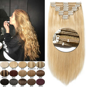 Clip-In-Thick-100-Remy-Human-Hair-Extensions-Full-Head-Double-Weft-Blonde-Q150