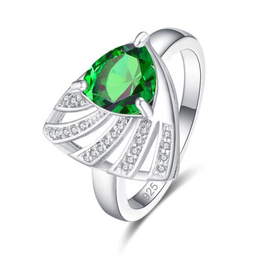 Elegant Uniqje Style Garnet /& Emerald Quartz /& White Topaz Gemstone Silver Ring