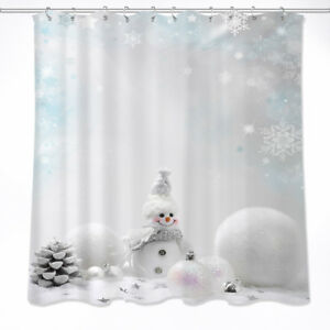 Details About US STOCK Christmas Cute Snowman Pine Cone Waterproof Fabric Shower Curtain Hooks