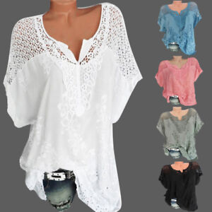 Women-V-Neck-Short-Sleeve-Hollow-Out-Casual-Blouse-Loose-Tops-Summer-T-Shirt-US