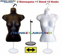 2 Female Mannequin Torso Form White Black +2 Hanger +1 Stand Display Shirt Dress