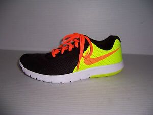 4dada56691110 Nike Flex Experience 5 Boys  Black Yellow Orange Running Shoes Sizes ...