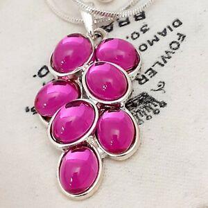 Vintage-Stunning-Fuschia-Hot-Pink-Glass-Cabochon-Silvertone-Pendant-Necklace