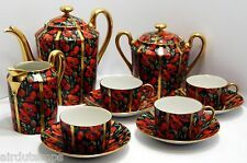 SERVICE à thé COQUELICOT & OR LIMOGES Descotte Reboisson Baranger fabricant 1943