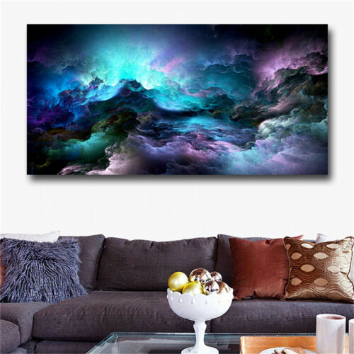 Large Size Wall Art Prints Cloud Abstract Colorful Oil Painting Wall Decor Blue