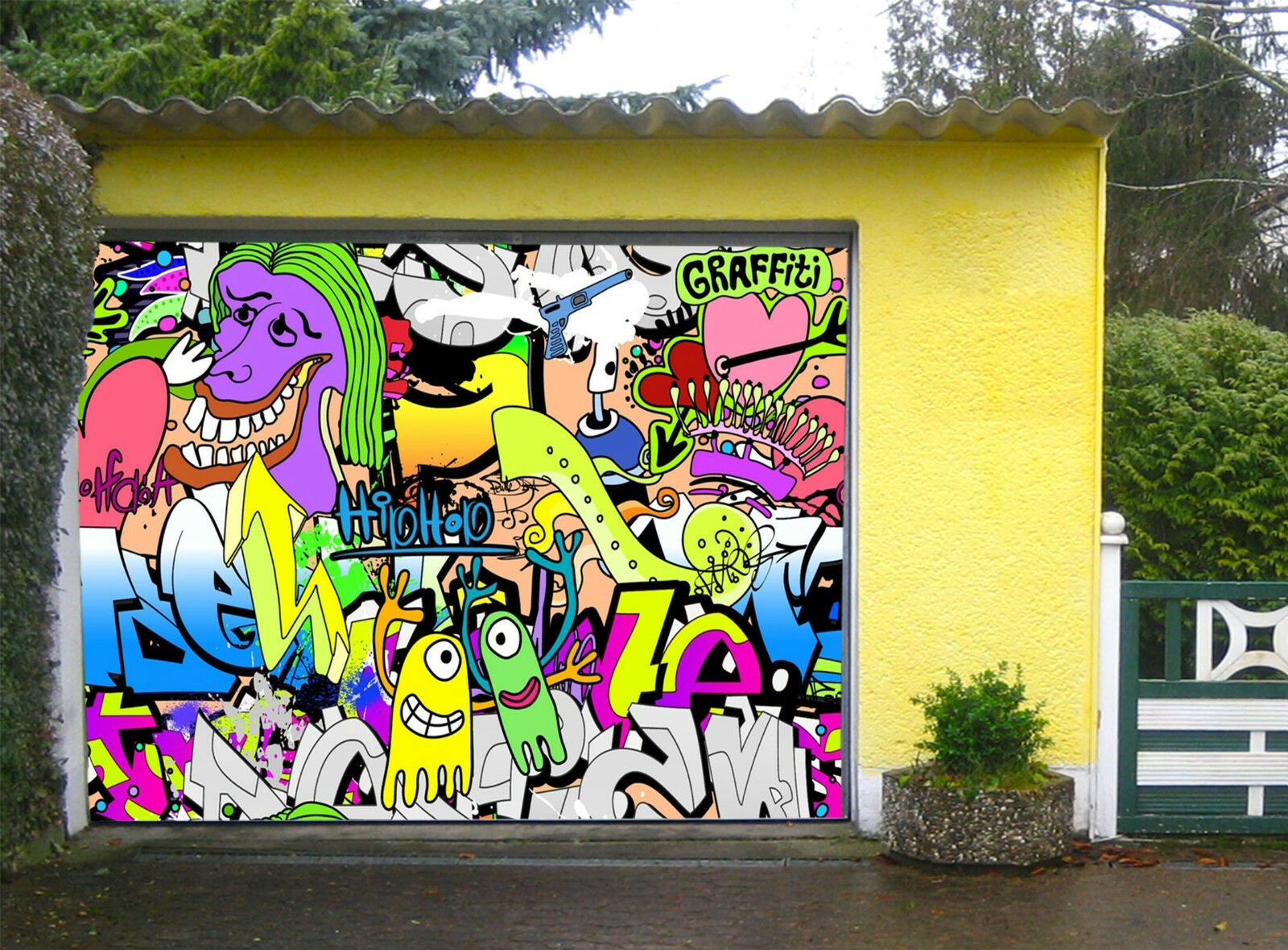 3D Schöne Graffiti Garage Door Murals Wall Print Decal Wall Deco AJ WALLPAPER DE