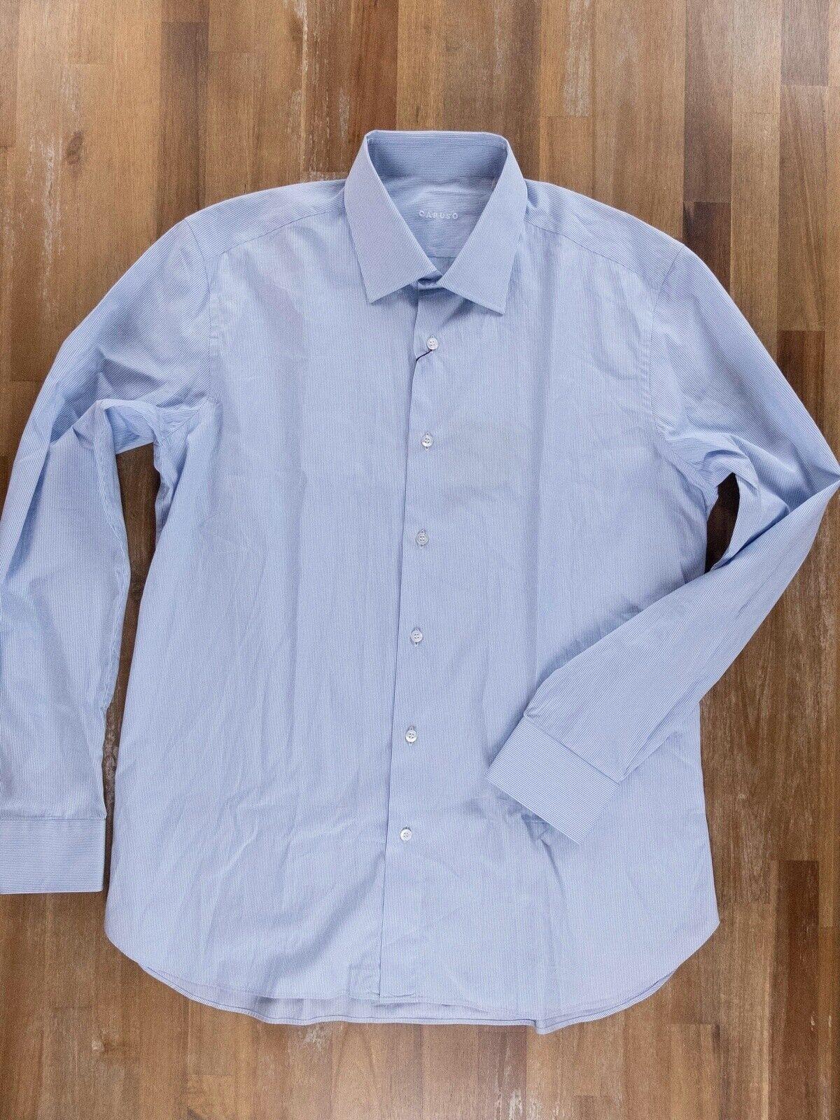 CARUSO Blau striped baumwolle hemd authentic - Größe 42   16.5 - NWOT