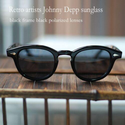 Vintage Johnny Depp Lunettes de soleil homme acétate Lunettes Noires Noir Polarisé Lentille
