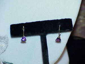 14K-50ct-Amethyst-Trillion-Earrings-Yellow-Gold-Lever-Back-Vintage-Dangle-New