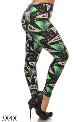 Womens Green Chene Plus Size Leggings