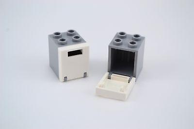Lego 3x Dark Bluish Gray 2x2x2 Container w// White Tile
