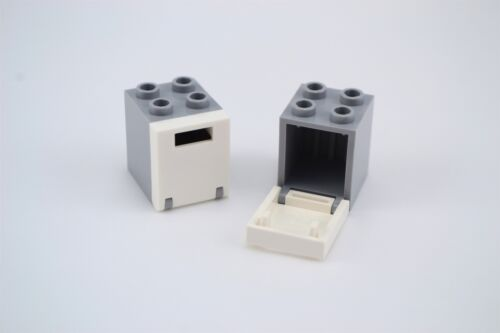 Lego 2x2x2 Container Box Light Bluish Gray with White Door with Slot Lot of 2