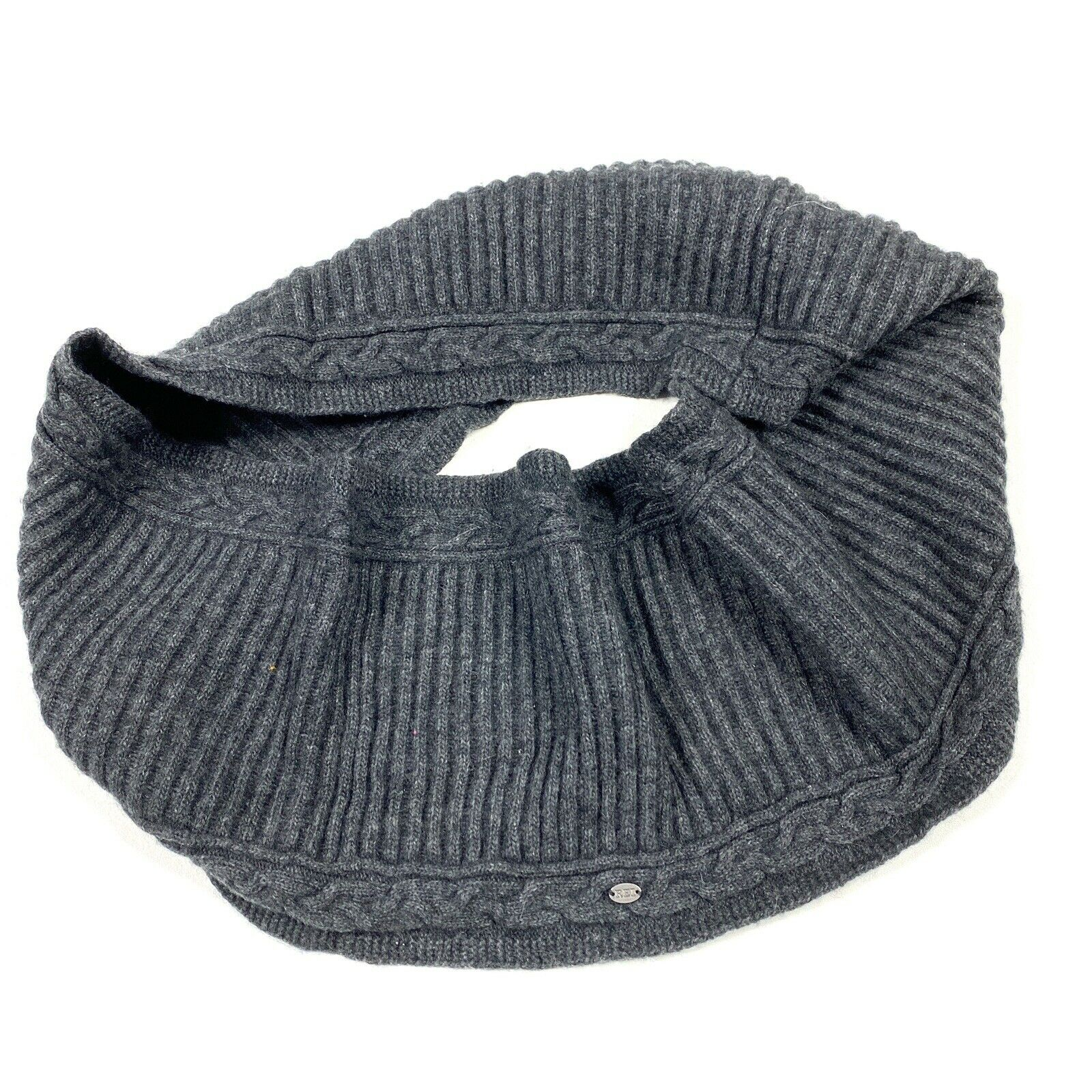 REI Womens Scarf Infinity Grey Ribbed Lambswool P2