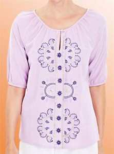 Ladies-Vintage-Top-Retro-Blouse-Simply-Be-Embroidered-Linen-Mix-Size-18-UK-Lilac
