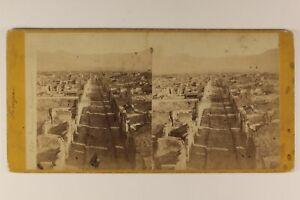 Italia Panorama Da Pompei c1870 Foto Stereo Vintage Albumina