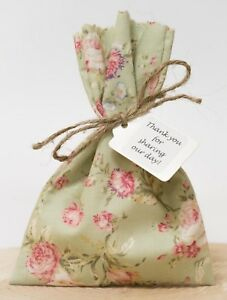 Green Pink Wedding Favour Bags Floral Tea Rose Shabby Chic Vintage