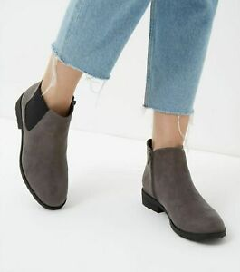 New Look Wide Fit Grey Suedette Chelsea