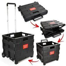 35KG Folding Shopping Cart Plastic Wheels Crate Foldable Car Camping Tidy Van