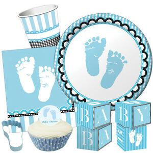 Sweet baby feet blue baby shower party range boy tableware for Baby feet decoration