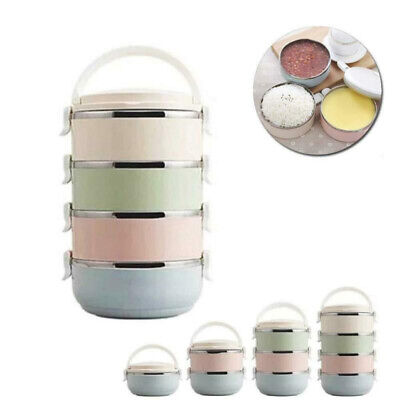1//2//3//4 Layer Thermo Insulated Thermal Food Container Bento Round Lunch-Box