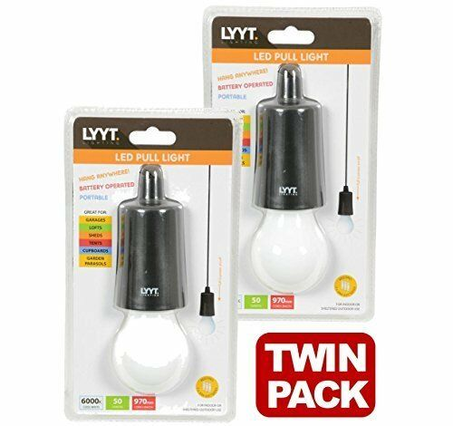 LYTT 410.385 - x 2 LED Pull Cord Hanging Lights Portable for Garages Sheds Tents
