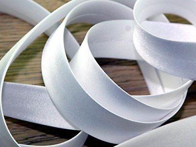 Satin Bias Binding Tape 25MM x 25M White for Sewing Bunting and Craft KRAFTZ®