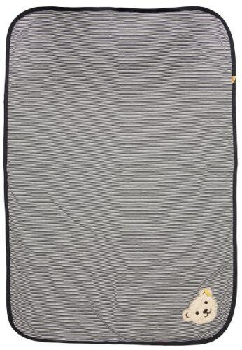STEIFF® Baby Krabbeldecke Decke Jerseydecke geringelt Marine Bär Basic NEU!