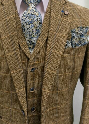 MEN/'S BROWN CHECK TAILORED FIT 3 PIECE TWEED SUIT PERFECT FOR WEDDINGS!