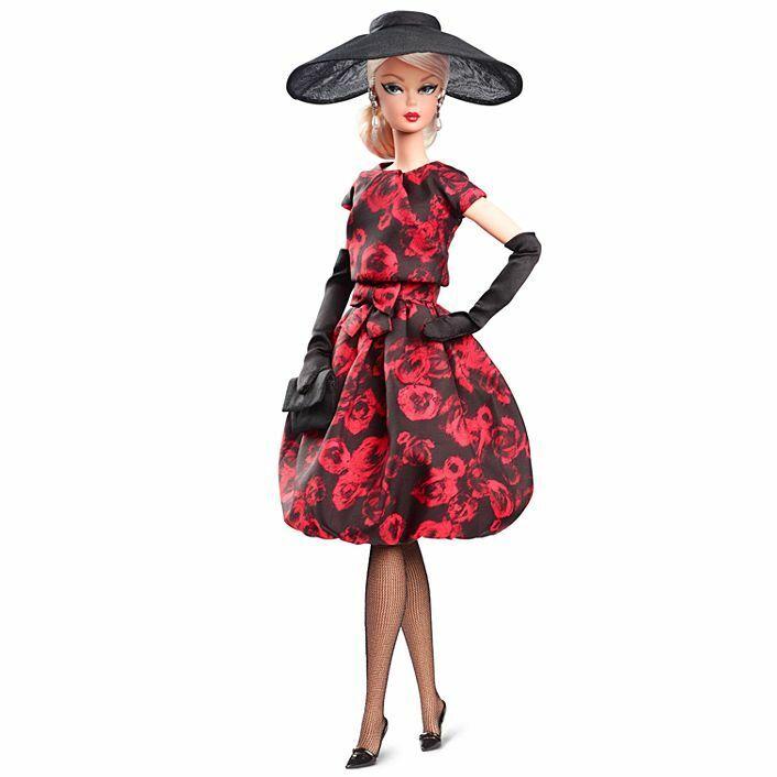 Nuevo En Caja Muñeca Barbie elegante rosadodo de cóctel vestido de moda firma Colección Modelo